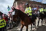 © Joel Goodman - 07973 332324 . 02/04/2011 . Blackburn , UK . Mounted police at the demonstration . The English Defence League ( EDL ) hold a demonstration in Blackburn . Photo credit : Joel Goodman