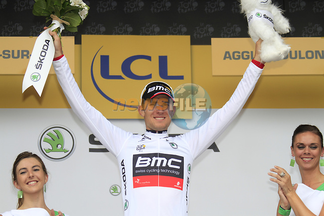 Tejay Van Garderen (USA) BMC Racing Team retains the young riders White Jersey at the end of Stage 3 of the 99th edition of the Tour de France 2012, running 197km from Orchies to Boulogne-sur-Mere, France. 3rd July 2012.<br /> (Photo by Eoin Clarke/NEWSFILE)