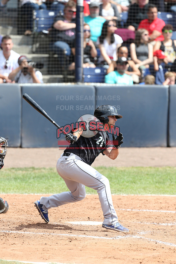 Justin Marra (26) of the Eugene Emeralds bats during a game against the Vancouver Canadians at Nat Bailey Stadium on July 22, 2015 in Vancouver, British Columbia. Vancouver defeated Eugene, 4-2. (Larry Goren/Four Seam Images)