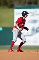 Mickey Moniak (22) of the Lakewood BlueClaws takes his lead off of second base against the Kannapolis Intimidators at Kannapolis Intimidators Stadium on April 9, 2017 in Kannapolis, North Carolina.  The BlueClaws defeated the Intimidators 7-1.  (Brian Westerholt/Four Seam Images)