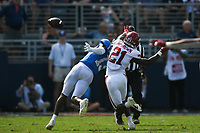 Arkansas defensive back Montaric Brown (21) blocks a pass intended for Ole Miss wide receiver Braylon Sanders (13), Saturday, October 9, 2021 during the fourth quarter of a football game at Vaught Hemingway Stadium in Oxford, Miss. Check out nwaonline.com/211010Daily/ for today's photo gallery. <br /> (NWA Democrat-Gazette/Charlie Kaijo)