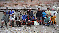 Names to come….. pause for a photograph before putting in at Honaker Campground on the San Juan River in southeast Utah. Sixteen people, including 12 canoes and a raft carrying four, paddle 83.5 miles of the San Juan River from the Sand Island Boat Ramp near Bluff, Ut., to Clay Hills Crossing UT.. Check out nwaonline.com/21____Daily/ and nwadg.com/photos for a photo gallery.<br /> (NWA Democrat-Gazette/David Gottschalk)