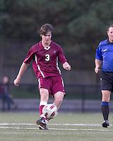Harvard University midfielder Scott Prozeller (3) passes the ball. Boston College defeated Harvard University, 2-0, at Newton Campus Field, October 11, 2011.