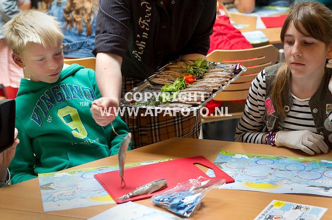 Apeldoorn, 070512<br /> Leerlingen van basisschool de Gong krijgen les in haring eten. <br /> Foto: Sjef Prins- APA Foto