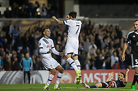 Son Heung-Min of Tottenham Hotspur runs to celebrate his goal with assist Dele Alli of Tottenham Hotspur during the UEFA Europa League match between Tottenham Hotspur and Qarabag FK at White Hart Lane, London, England on 17 September 2015. Photo by Andy Rowland.