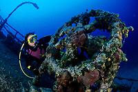 scuba diver looking the wheel of Teti wreck, Vis island, Croatia, Adriatic Sea, Mediterranean, Atlantic
