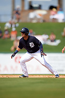 Detroit Tigers shortstop Jose Iglesias (1) leads off second base during an exhibition game against the Florida Southern Moccasins on February 29, 2016 at Joker Marchant Stadium in Lakeland, Florida.  Detroit defeated Florida Southern 7-2.  (Mike Janes/Four Seam Images)
