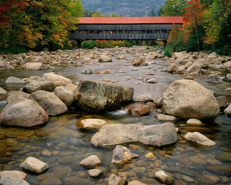 Covered bridge over Pemigewasset River along Kancamagus Highway; White Mountains National Forest, NH