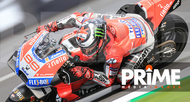Jorge Lorenzo (99) of the Ducati Team race team during the GoPro British MotoGP at Silverstone Circuit, Towcester, England on 26 August 2018. Photo by Chris Brown / PRiME Media Images