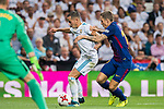 Lucas Vazquez (l) of Real Madrid fights for the ball with Lucas Digne of FC Barcelona during their Supercopa de Espana Final 2nd Leg match between Real Madrid and FC Barcelona at the Estadio Santiago Bernabeu on 16 August 2017 in Madrid, Spain. Photo by Diego Gonzalez Souto / Power Sport Images
