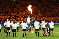 17th July 2021; Brisbane, Australia;  French team take the field during the Australia versus France, 3rd Rugby Test at Suncorp Stadium, Brisbane, Australia on Saturday 17th July 2021.
