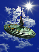 Man riding sundial in sky