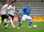 Raith Rovers v St Johnstone...12.07.14  Pre-Season Friendly<br /> Liam Caddis fends off Liam Fox and David Bates<br /> Picture by Graeme Hart.<br /> Copyright Perthshire Picture Agency<br /> Tel: 01738 623350  Mobile: 07990 594431