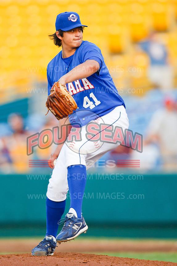 July 2nd, 2010 Luis Mendoza (41) in action during MiLB play between the Iowa Cubs and the Omaha Royals. Iowa Cubs won 5-3 at Rosenblatt Stadium, Omaha Nebraska.