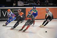 SPEEDSKATING: DORDRECHT: 06-03-2021, ISU World Short Track Speedskating Championships, Final A 1500m Men, Charles Hamelin (CAN), Itzhak de Laat (NED), Semen Elistratov (RSU), Shaolin Sandor Liu (HUN), ©photo Martin de Jong