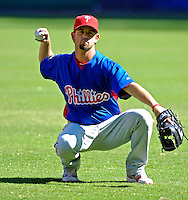 23 September 2007: Philadelphia Phillies pitcher  Geoff Geary warms up prior to facing the Washington Nationals at Robert F. Kennedy Memorial Stadium in Washington, DC. The Nationals defeated the visiting Phillies 5-3 to close out the 2007 season and the final game in baseball history at RFK Stadium. The Nationals will open up the 2008 season at Nationals Park, their new facility currently under construction.. .Mandatory Photo Credit: Ed Wolfstein Photo