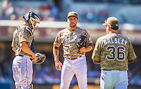 23 June 2013: San Diego Padres  relief pitcher Huston Street is visited on the mound by pitching coach Darren Balsley and catcher Nick Hundley during a game against the Los Angeles Dodgers at Petco Park in San Diego, California. The Dodgers defeated the Padres 3-1, splitting their 4-game Divisional Series at 2-2. Mandatory Credit: Ed Wolfstein Photo *** RAW (NEF) Image File Available ***