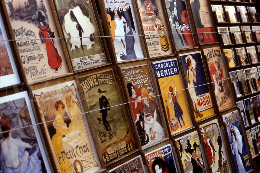 Close-up of vintage Montmartre posters, Paris, France