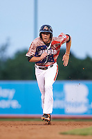 Aberdeen Ironbirds outfielder Glynn Davis (13) running the bases during a game against the Tri-City ValleyCats on August 6, 2015 at Ripken Stadium in Aberdeen, Maryland.  Tri-City defeated Aberdeen 5-0 in a combined no-hitter.  (Mike Janes/Four Seam Images)