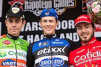 Niki Terpstra (NLD/Etixx-QuickStep) wins the first edition of Dwars door het Hageland 2016.<br /> CX World Champion Wout Van Aert (BEL/Crelan-Vastgoedservice) is 2nd and Florian Senechal (FRA/Cofidis) 3rd.<br /> (pic by Léon Van Bon)