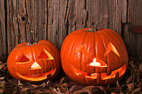 Two carved pumpkins sitting by fence