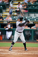 Jupiter Hammerheads first baseman John Silviano (22) at bat during a game against the Bradenton Marauders on May 25, 2018 at LECOM Park in Bradenton, Florida.  Jupiter defeated Bradenton 3-2.  (Mike Janes/Four Seam Images)