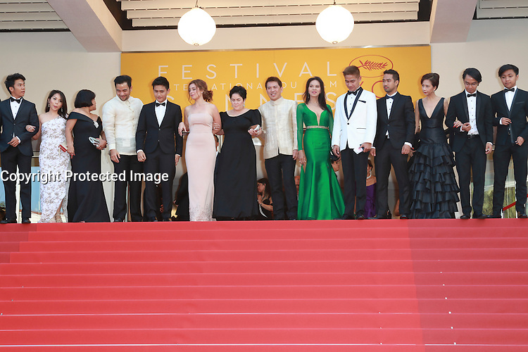 Ruby Ruiz, Neil Ryan Sese, Andi Eigenmann, director Brillante Mendoza, Jaclyn Jose, Jomari Angeles, Maria Isabel Lopez and Troy Espiritu attend the 'Ma'Rosa' premiere during the 69th Annual Cannes Film Festival at the Palais des Festivals on May 18, 2016 in Cannes, France