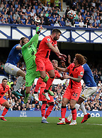 25th September 2021; Goodison Park, Liverpool, England; Premier League football, Everton versus Norwich; Norwich City goalkeeper Tim Krul leaps to punch the ball clear