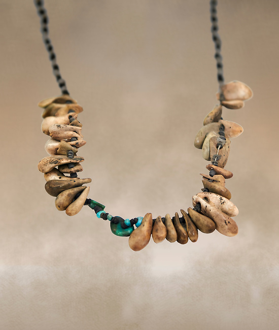 Neolithic necklace, 7000 BC to 6500 BC . Catalhoyuk collection, Konya Archaeological Museum, Turkey