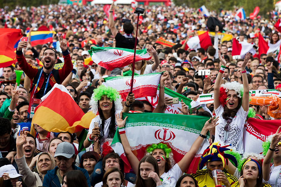 Moscow, Russia, 14/06/2018.<br /> Soccer fans in the Moscow Fan Zone before the opening match between Russia and Saudi Arabia in the 2018 FIFA World Cup.