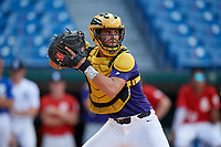 Rene Lastres (6) of Miami Christian High School in Hialeah Gardens, FL during the Perfect Game National Showcase at Hoover Metropolitan Stadium on June 19, 2020 in Hoover, Alabama. (Mike Janes/Four Seam Images)