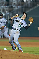 Augusta GreenJackets third baseman Jacob Gonzalez (18) catches a pop fly behind the pitchers during the game against the Greensboro Grasshoppers at First National Bank Field on April 10, 2018 in Greensboro, North Carolina.  The GreenJackets defeated the Grasshoppers 5-0.  (Brian Westerholt/Four Seam Images)