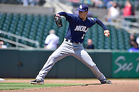 Pat Misch (16) of the New Orleans Zephyrs pitches against the Iowa Cubs at Principal Park on April 23, 2015 in Des Moines, Iowa.  The Zephyrs won 9-2.  (Dennis Hubbard/Four Seam Images)