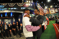 Outfielder Courtney Hawkins (Carroll H.S.) the number thirteen overall pick to the Chicago White Sox with former All Star infielder Harold Reynolds during the MLB Draft on Monday June 04,2012 at Studio 42 in Secaucus, NJ.   (Tomasso DeRosa/ Four Seam Images )
