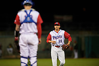Stockton Ports relief pitcher Brendan Butler (22) walks to the mound between innings of a California League game against the Rancho Cucamonga Quakes at Banner Island Ballpark on May 16, 2018 in Stockton, California. Rancho Cucamonga defeated Stockton 6-3. (Zachary Lucy/Four Seam Images)