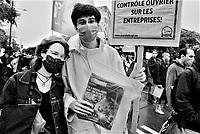 Manifestation de syndicats pour les droits des travailleurs, le 6 Septembre 2021 durant la fin de semaine de la Fête du travail.<br /> <br /> PHOTO : Agence Quebec Presse - Anne Campagna