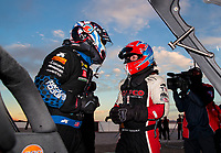 Nov 1, 2020; Las Vegas, Nevada, USA; NHRA top fuel driver Antron Brown (left) with Steve Torrence during the NHRA Finals at The Strip at Las Vegas Motor Speedway. Mandatory Credit: Mark J. Rebilas-USA TODAY Sports