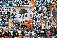 16th May 2018, Stade de Lyon, Lyon, France; Europa League football final, Marseille versus Atletico Madrid; Giant flags being waved by Marseille fans