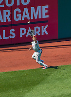 24 May 2015: Philadelphia Phillies outfielder Ben Revere pulls in a fly ball during a game against the Washington Nationals at Nationals Park in Washington, DC. The Nationals defeated the Phillies 4-1 to take the rubber game of their 3-game weekend series. Mandatory Credit: Ed Wolfstein Photo *** RAW (NEF) Image File Available ***