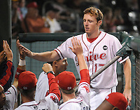 Sept. 17, 2009: Mitch Dening (17) of the Greenville Drive is congratulated after scoring a run in Game 3 of the South Atlantic League Championship Series at Fluor Field at the West End in Greenville, S.C. The Drive beat the Lakewood BlueClaws 3-2 but trail in the best-of-five series 2-1.  Photo by: Tom Priddy/Four Seam Images