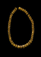 Bronze Age Hattian gold necklace from Grave L,  possibly a Bronze Age Royal grave (2500 BC to 2250 BC) - Alacahoyuk - Museum of Anatolian Civilisations, Ankara, Turkey. Against a black background