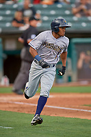 Magneuris Sierra (5) of the New Orleans Baby Cakes runs to first base against the Salt Lake Bees at Smith's Ballpark on August 4, 2019 in Salt Lake City, Utah. The Baby Cakes defeated the Bees 8-2. (Stephen Smith/Four Seam Images)