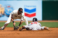 13 April 2008: #55 Skip Schumaker of the Cardinas slides as he steals second base before #29 Brian Bocock of the Giants tags him during the San Francisco Giants 7-4 victory over the St. Louis Cardinals at the AT&T Park in San Francisco, CA.