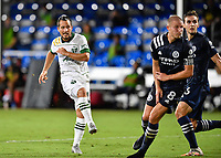 LAKE BUENA VISTA, FL - AUGUST 01: Sebastián Blanco #10 of the Portland Timbers watches his shot during a game between Portland Timbers and New York City FC at ESPN Wide World of Sports on August 01, 2020 in Lake Buena Vista, Florida.