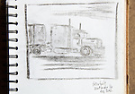 Semi Truck, Virginia, charcoal on paper, Journal Art 2002,