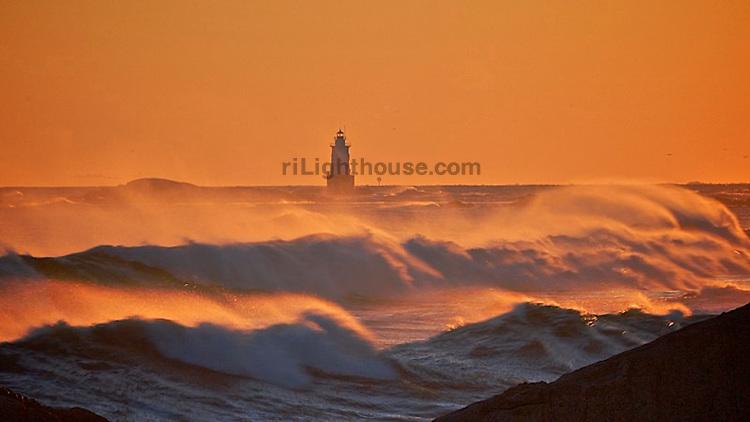 Large waves crash on shore at Sakonnet Point.
