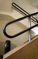 The staircase in the Bauhaus style Mirenburg House at 65 Hovevei Zion Street. It was built in 1935 by architect Pinchas Hitt. Tel Aviv is known as the White City in reference to its collection of 4,000 Bauhaus style buildings, the largest number in any city in the world. In 2003 the Bauhaus neighbourhoods of Tel Aviv were placed on the UNESCO World Heritage List.