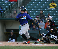 2007:  J.R. House of the Norfolk Tides at bat vs the Rochester Red Wings in International League baseball action.  Photo by Mike Janes/Four Seam Images