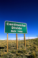 Continental Divide Sign in Rawlings Wyoming at 7000 feet