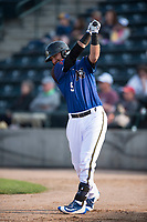 Missoula Osprey designated hitter Zachery Almond (9) on deck during a Pioneer League game against the Grand Junction Rockies at Ogren Park Allegiance Field on August 21, 2018 in Missoula, Montana. The Missoula Osprey defeated the Grand Junction Rockies by a score of 2-1. (Zachary Lucy/Four Seam Images)